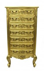 frederique seven drawer tallboy in gold