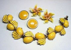 Yellow Thermoset Bracelet w 2 Pairs of Clip by TheVintageBlingBox, $29.75
