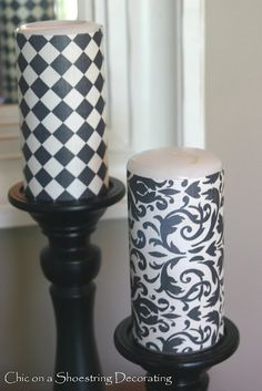 scrapbook paper wrapped candles