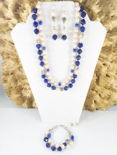 A personal favorite from my Etsy shop https://www.etsy.com/listing/265160785/genuine-lapis-freshwater-pearl-and