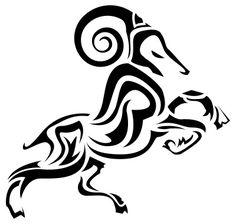 Aries Ram Tattoo Design Tribal Body Art Stencil | Just Free Image ...