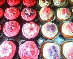 Buttercream swirl cupcakes with fondant decorations - My 18th birthday Cupcakes!!!