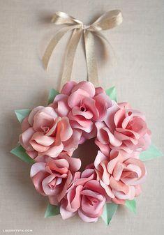 Make a Mini Paper Rose Wreath