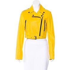 Pre-owned Burberry Leather Moto Jacket ($625) ❤ liked on Polyvore featuring outerwear, jackets, yellow, biker jacket, yellow jacket, zipper leather jacket, yellow motorcycle jacket and genuine leather biker jacket