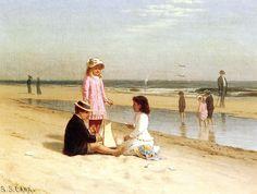 Children on the Beach, 1880 ~ Samuel S. Carr ~ (American: 1837-1908)