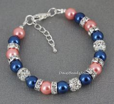 Pink Coral and Navy Bracelet Navy Blue and by DaisyBeadzJoaillerie