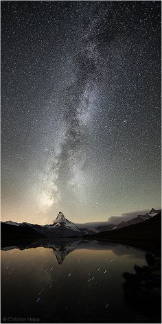 Stellar Sunshine - In August 2011, around 3 AM, the Milky Way rises above the (14692 ft/4478 m) Matterhorn in the Swiss Alps. After moonset or at new moon millions of stars belonging to our galaxy light up the sky. Under the vast firmament of the Milky Way the star constellations of Sagittarius and Scorpius are setting below the horizon to the left and right of Matterhorn. The twofold Milky Way intersected by dark clouds of interstellar dust shows the constellations of Scutum and the…