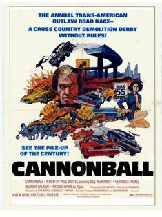 CANNONBALL (1976) - David Carradine - Bill McKinney - Veronica Hamel - Directed by Paul Bartel - New World Pictures - Movie Poster.