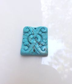 Carved Turquoise Pendant Bead Gemstone 1 by lyrisgems2supplies, $12.00