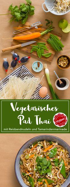 Vegetarisches Pad Thai mit Reisbandnudeln und Tamarindenmarinade - Rezept (Schnelle Rezepte, Gesund, Deutsch, Kaloriearm, Ohne Kohlenhydrate, Abendessen, gebratene Nudeln, Thailändisch, Reisbandnudeln, Tamarinde, Marinade, Leicht, Kochen, Abnehmen, Gäste, Veggie, Vegetarisch, Kochhaus)