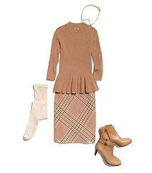 Peplum + Plaid Skirt