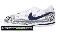 Bandana Fever - Bandana Fever Custom Graphic Nike Cortez Leather White/Navy/Black Bandana, $154.99 (http://store.bandanafever.com/bandana-fever-custom-graphic-nike-cortez-leather-white-navy-black-bandana/)
