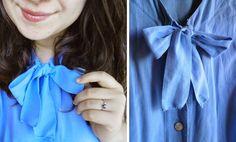 #blue #bow #blouse #recy Bow Blouse, Ruffle Blouse, Blue Bow, Sewing, Diy, Tops, Women, Fashion, Moda