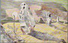 Paul Nash Paintings   Paul Nash, Landscape of the Megaliths, 1937