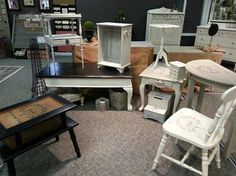 Photo: Lovely white and slate tiered table  SOLD,  from our gallery