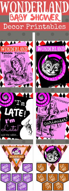 Alice In Wonderland Baby Shower | Printable Baby Shower Ideas  These Alice in Wonderland prints are perfect for your baby shower.  It doesn't matter if you're having a boy or girl themed shower. These prints are sure to leave a great impression on your guests.