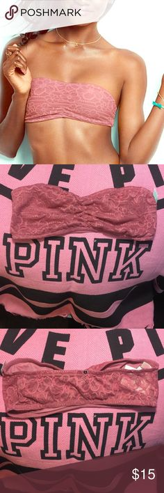 SALEVS PINK SOFT BEGONIA BANDEAU NWT Victoria secret pink padded push up bra size large will fit sizes large 36a-c 38c-bships fast ships today feel free to ask me any questions ❤️ no trades PINK Victoria's Secret Intimates & Sleepwear Bandeaus