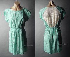 Sale Pastel Blue Ditsy Floral Polka Dot Crochet Lace Back Tea 22 mv Dress S M L #Other #TeaDress #Casual