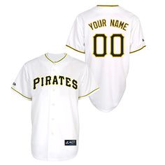 16cb908a070 Pittsburgh Pirates Youth Replica Personalized Home Jersey by Majestic  Athletic - MLB.com Shop Youth