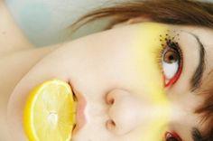 лимон, макияж, желтый