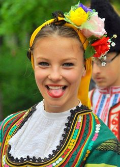 Happy bulgarian girl to grimace.