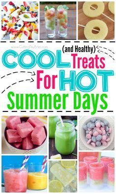 Healthy COOL treats for HOT summer days. Have a nice cold snack ready for your kids when they come in from playing outside in the summer heat. Popsicles, smoothies, frozen yogurt snacks, slushes, and more! All healthy, with loads of fresh fruit, natural ingredients, and no artificial colors.