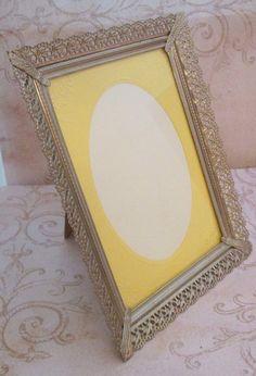 Oval mirror vintage brass mirror brass frame metal for Gold stand up mirror