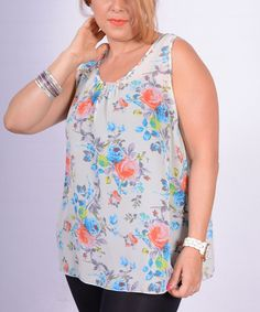 This White Floral Tank - Plus is perfect! #zulilyfinds