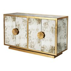 CALYPSO G - GOLD LEAF & ANTIQUE MIRROR CABINET WITH STARBURST HANDLES