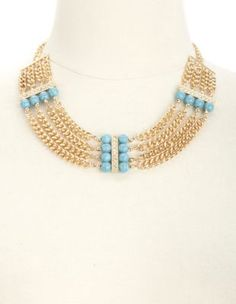 turquoise, rhinestone  chain collar necklace