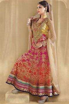 Red, Golden Georgette Floor Touch Anarkali Salwar Suit