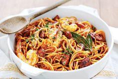 Chorizo and prawn fideos