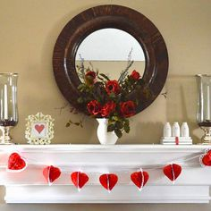 Decorating a Valentine Mantle