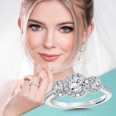 Showcase your past, present, and future with this stunning 3 stone halo engagement ring.#Valina #diamonds #bridaltrends #perfectwedding #wedding2021 #2021weddings #ringbling #bridetobe #heputaringonit #engagementringideas #diamondrings #bridalcouture #engagementrings #dreamring #whitegold #whitegoldengagementring #Isaidyes #enagagementringgoals #diamondsareagirlsbestfriend #statementring #statementengagementring #bridalset #haloengagementring #threestones #threestoneengagementring Classic Engagement Rings, Three Stone Engagement Rings, Halo Engagement, Dream Ring, Bridal Sets, Girls Best Friend, Statement Rings, Perfect Wedding, Fine Jewelry