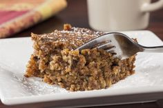Flourless Applesauce Cake Recipe Desserts with quick-cooking oats, light brown sugar, baking soda, baking powder, ground cinnamon, ground nutmeg, salt, unsweetened applesauce, canola oil, eggs, vanilla extract, chopped walnuts, confectioners sugar