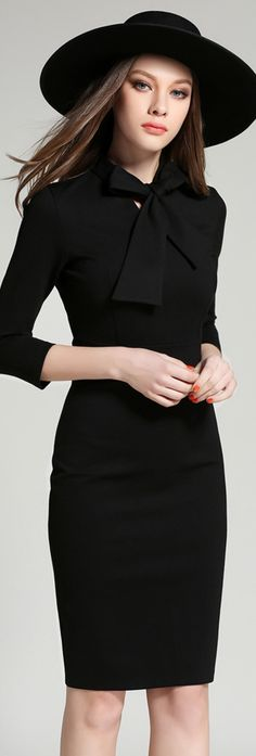 Black Bow Collar 3/4 Sleeves Dress