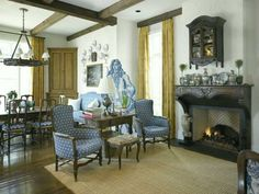 French inspired breakfast room and sitting area off the kitchen by Peggy Stone. Image by Peter Vitale via Veranda.