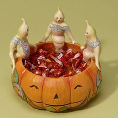 """Jim Shore Halloween 2011  LIFE'S A BOWL OF SCARIES    This Halloween bowl is perfect for wrapped candy and spooky surprises.    Specifications:  Materials: Stone Resin   Size: 5.75""""H x 7""""W x 7""""L  Note: Unique variations should be expected; Hand painted.    Your Price: $51.00"""