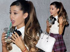 Ariana Grande rocks a white shirt and tartan skirt out and about in London - LOVE HER LOOK
