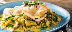 Fish Fillet with Seafood Curry Sauce is luscious, creamy and bright thanks to a curry powder, heavy cream and black pepper sauce with scallops, shrimp and squid drizzled over a pan seared white fish