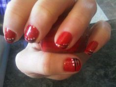 Red, Black & White nail art