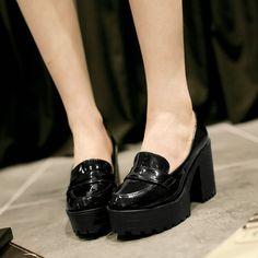 Aliexpress.com: Comprar Envío gratuito de primavera mujeres de moda gruesos zapatos de plataforma de los zapatos de vestido sexy de tacón alto negro beige albaricoque zapatos an 5 de zapatos nike air max fiable proveedores en magic party  queen