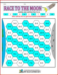 Race to the Moon - adding and subtracting to 10 - a kindergarten math game which involves adding and subtracting with numbers up to 10.