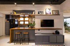 home tv cozinha Living Room Kitchen, Home Decor Kitchen, Home Living Room, Kitchen Interior, Home Kitchens, Kitchen Design, Living Area, Apartment Layout, Apartment Interior