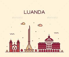 Buy Luanda Skyline Angola Vector City Linear Style by gropgrop on GraphicRiver. Travel Posters, Vector Graphics, Line Art, Illustration Art, Africa, Skyline, History, Image, Dibujo