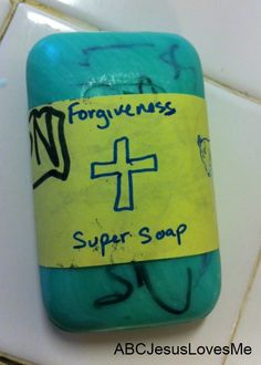 Explain that God's forgiveness, through Jesus, is like super soap that washes away our sins when we are truly sorry and ask forgiveness