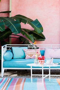 blue and pink outdoor patio decor
