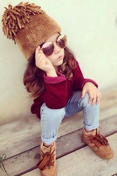 Three-year-old Laerta has a trendy wardrobe with a sassy pout to match. Follow @fashion_laerta. Courtesy Instagram  - HarpersBAZAAR.com
