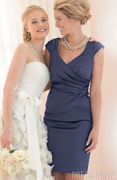 Elegant Draped A-Line Short/Mini-Length V-Neck Mother Of The Bride Dress