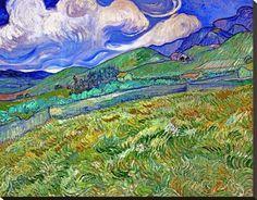 Giclee Print: Wheatfield and Mountains Art Print by van Gogh by Vincent van Gogh : Van Gogh Art, Art Van, Van Gogh Paintings, Paintings I Love, Van Gogh Landscapes, Landscape Paintings, Desenhos Van Gogh, Van Gogh Pinturas, Georgia O'keeffe